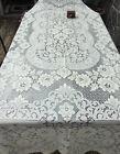 "Vintage Quaker Lace 76 X 96"" tablecloth Beautiful Florals NICE"