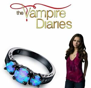 The Vampire Diaries Elena Gilbert, Diamond, Moon-Phase Gem, Tungsten Plated Ring