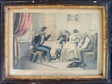 1840's Mexican war veteran soldier's return lithograph by Kelloggs & Thayer
