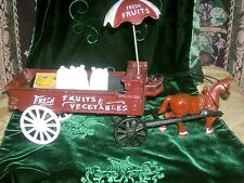 Vintage Cast Iron Horse Drawn Fruit and Vegetable Wagon