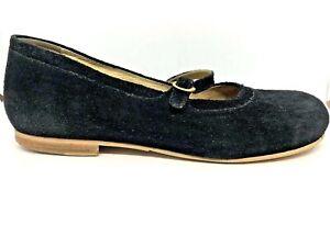 Birkenstock Womens Sz 41 Black Suede  265 Mary Jane Flats + Inserts VGC