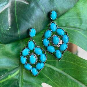 Turquoise Gemstone Earrings 925 Silver Diamond Pave Dangle Earrings Gift Jewelry
