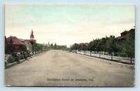 Anaheim, CA - EARLY 1900s HAND COLORED RESIDENCE STREET SCENE - WOODS POSTCARD