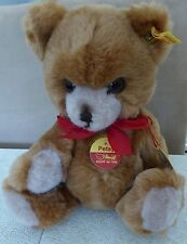 """Steiff Teddy Petsy, Light Brown 11"""" with tags and button in ear"""