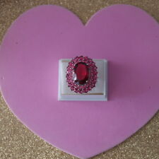 Superb 925 Silver Ring With Pink Raspberry Rhodolite Size S12 US Sz 9.5 In Box