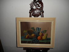 Old oil painting,{ Stillife with wine and fruit, is signed, and antique! }.