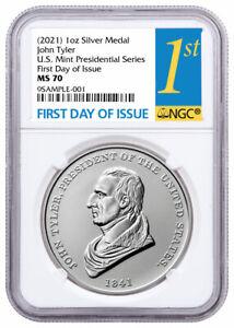 2021 US Presidential Medal John Tyler 1 oz Silver Matte NGC MS70 FDI