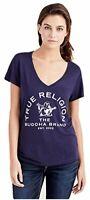 True Religion Women's Arch Buddha Deep V Neck Tee T-Shirt