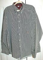 Tommy Hilfiger Men's Blue & White Striped Long Sleeve Button Down Shirt Size XXL