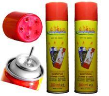 Feuerzeuggas 2x 300 ml   - Nachfüllgas - universell mit 5 Adapter