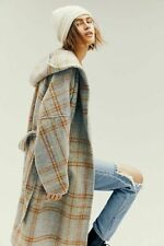 Free People Far From Home Coat Hoodie Faded Lime Grunge Plaid Size XS
