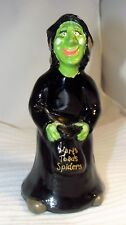 Fenton Art Glass Halloween Black WITCH Sand Carved Signed Hand Painted Figurine