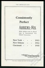 1915 Ahrens-Fox fire engine Chief's convention scores vintage trade print ad