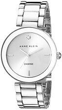Anne Klein Womens Diamond Dial Silver-Tone Bracelet Watch