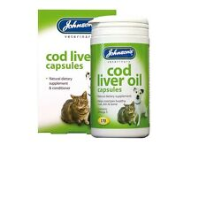 Johnson's Dog Cat Cod Liver Oil 170 Capsules Supplement Healthy Skin Coat Bones