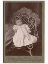 BABY IN WICKER CHAIR BY SONNENBERG, ALLEGHENY CITY, PA, VINTAGE CABINET PHOTO