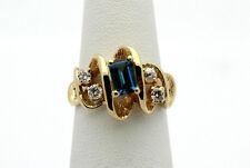 14k Yellow Gold YG Dazzling Exotic Design Blue White Topaz Swirl Ring Sz 5 #4676