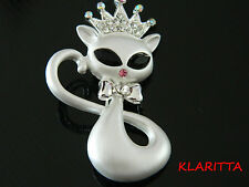 Stylish & Elegant White Cat with Crown with Crystal Elements High Quality Br15