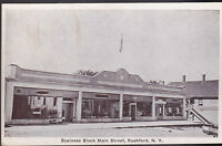 Rushford NY Business Block Main Street   Postcard 1936 Allegany County