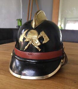 Feuerwehrhelm Pickelhaube Helm Feuerwehr Lederhelm Firefighter Helmet antik alt
