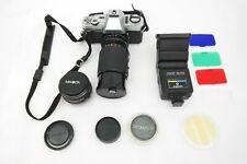 MINOLTA X-370 VINTAGE SLR 35mm Film Camera 50mm MACRO Gemini 80-200mm Lens AK