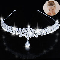 Crystal Wedding Prom Crown Rhinestone Hair Jewelry Headband Bridal Veil Tiara