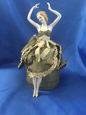 Amazing Half Doll sitting on a Box w/ legs Art Deco or older origin. Clothing