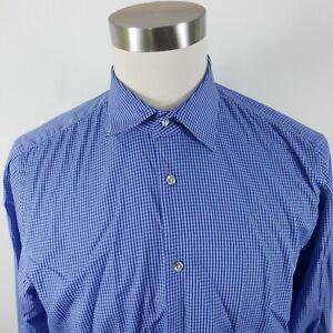 Hugo Boss Mens Cotton Regular Fit LS Button Up Blue Checkered Plaid Shirt 16.5