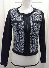 BCBGeneration Max Azaria Women's Coat Jacket Black White Tweed cotton Blend XS
