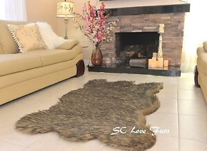 "36"" x 58"" Fur Rug Coyote Bear Grizzly Area Rug Shag Flokati Lodge Cabin Rugs"