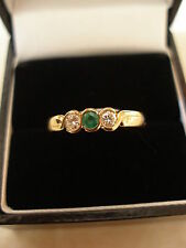 9 CARAT GOLD EMERALD & DIAMOND 3 STONE RING MADE IN ENGLAND BRAND NEW IN BOX