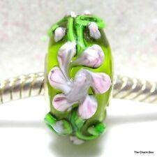 'EMERALD ISLE'  Green/Mauve Purple Flowers Bumpy Murano Glass Bead - Single Core