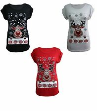 WOMEN LADIES CHRISTMAS GLITTER RUDOLPH PRINT T SHIRTS FESTIVE NOVELTY XMAS TOPS