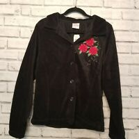 Decorated Originals Womens Size Large Black Fleece Jacket Poinsettia Christmas