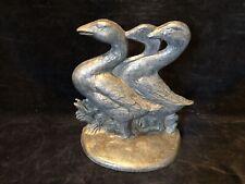 Vintage Cast Iron Door Stop~3 Geese/Ducks~# 457~J W~Cast In Usa