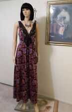OLGA vintage BLACK & RED PAISLEY FLORAL Nightgown style 92280 8 3 size L large