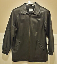 Black Genuine Leather Jacket Coat Mens M 40 Ladies L 12 14 16 LIZ BAKER Essentia