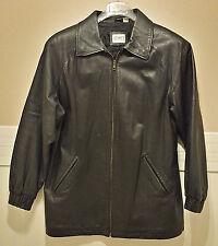 Black Genuine Leather Jacket Coat Mens M 40 Ladies L 12 14 16 LIZ BAKER Essentia