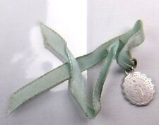 Vintage Early 1830 Mary Pray For Us Ribbon & Medal Charm Christian Religious J31