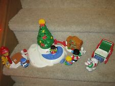 Fisher Price Little People Christmas Tree Lighting Park Ice Pond Skating Snowman
