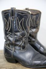 Vintage Black Cowboy Cowgirl Boots Country Western Southwestern Stitched
