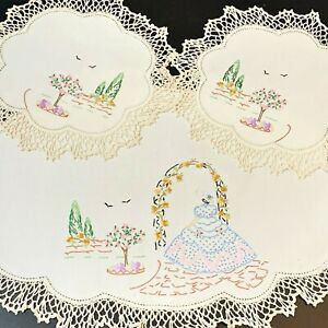 Crinoline Lady Embroidered Cream Linen Doily Duchess Set 3pc, Immaculate Vintage