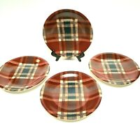 RED PLAID RAYMOND WAITES CORNUCOPIA SET OF 4 SALAD PLATE CERTIFIED INTERNATIONAL