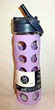 Lifefactory 16 oz Glass Bottle with Straw Cap and Silicone Sleeve Lilac