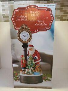 Santa Holiday Clock LED Christmas Tree Figure Table Sculpture Centerpiece Decor
