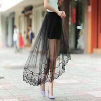Women Gauze See Through Mesh Tulle Lace Floral Gothic Long Maxi Skirt Dress