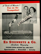C 1940 Poster trampoline Ed Steinmetz acrobat gymnastic Advertising Flyer