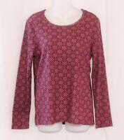 Time and Tru Shirt Size Medium Burgundy  Print New