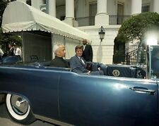 President John F. Kennedy and India leader in limousine New 8x10 Photo