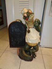 "39"" Crocodile Butler with Chalkboard Statue Restaurant Kitchen Decor"